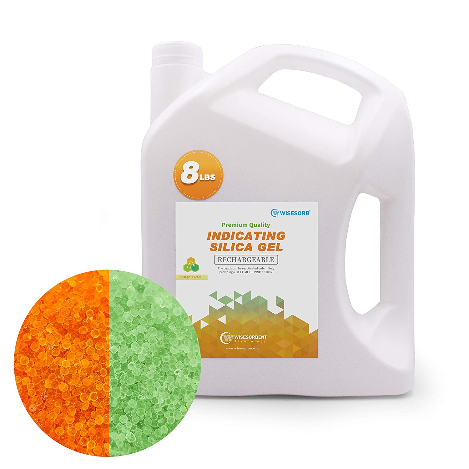 Wisesorb 8LBS Premium Quality Reusable Indicating Silica Gel Desiccant Beads-Rechargeable (Orange to Green, Silica Gel)