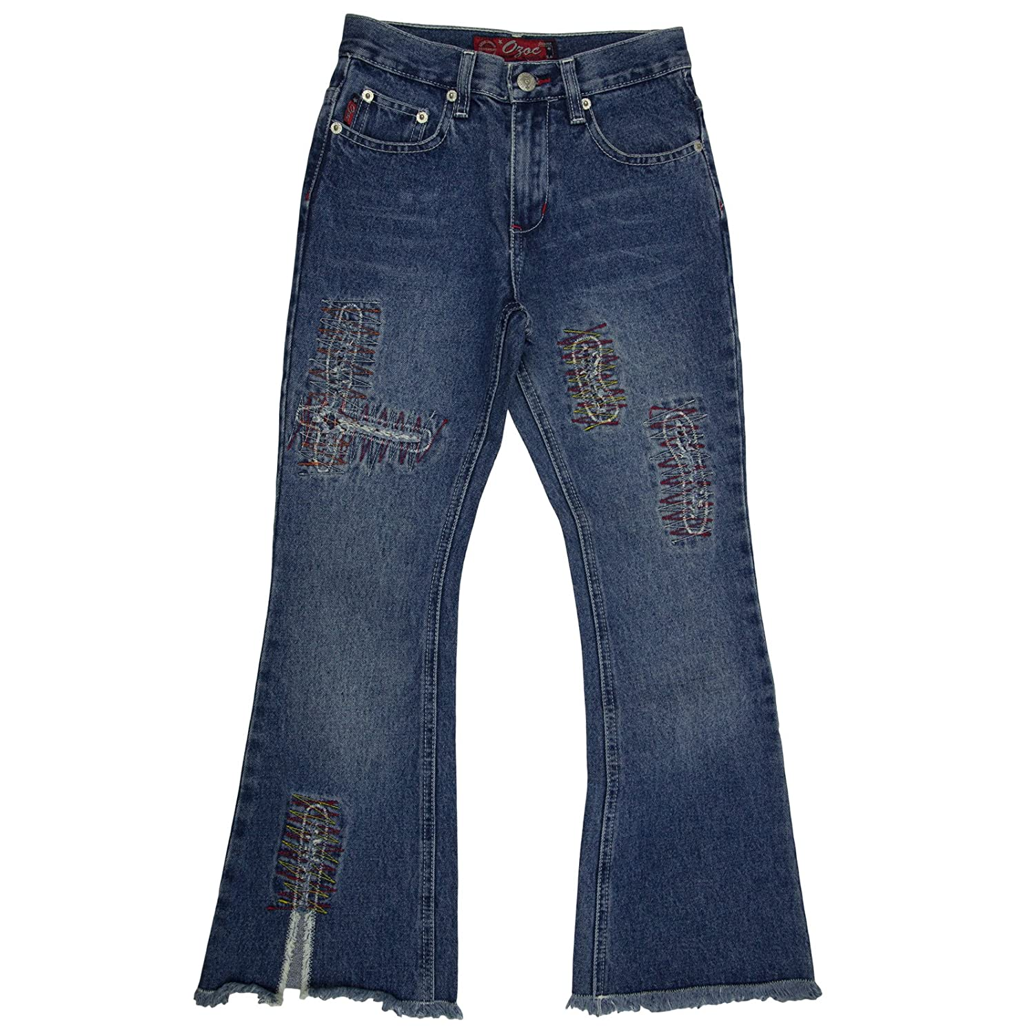 Ozoc Girls 100% Cotton Blue Jeans with Stylish Embroidered Accents