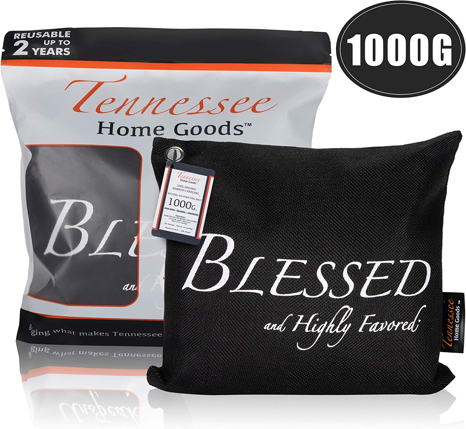 Tennessee Home Goods - Bamboo Charcoal Air Purifying Bags - Organic Odor Absorber, Safe for Kids, Pets - Decorative, Stylish Design - Home, Gym, Office, Car Purifier - Blessed & Highly Favored- 1000g