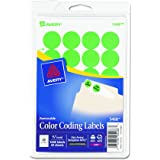 Avery Print/Write Self-Adhesive Removable Labels, 0.75 Inch Diameter, Green Neon, 1008 per Pack  (5468)