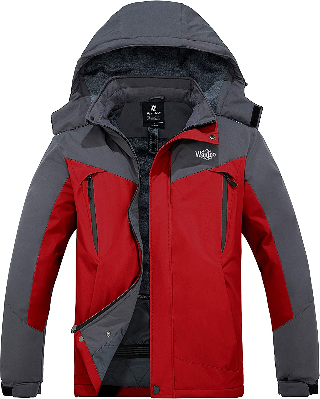 Wantdo Men's Waterproof Snowboarding Jacket Windproof Ski Jackets Winter Snow Coats Warm Fleece Raincoats
