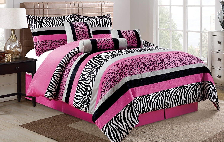 7 Piece Oversize HOT PINK Black White Zebra Leopard Micro Fur Comforter set Full Size Bedding - Teen, Girl, youth, Tween, Children's Room, Master Bedroom, Guest Room