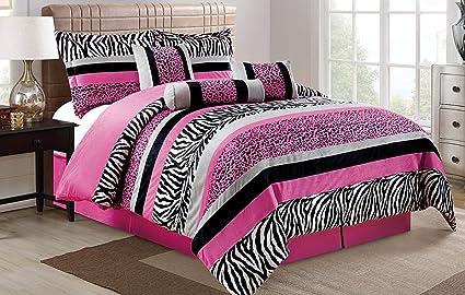 7 Piece Oversize HOT PINK Black White Zebra Leopard Micro Fur Comforter Set  Full Size Bedding