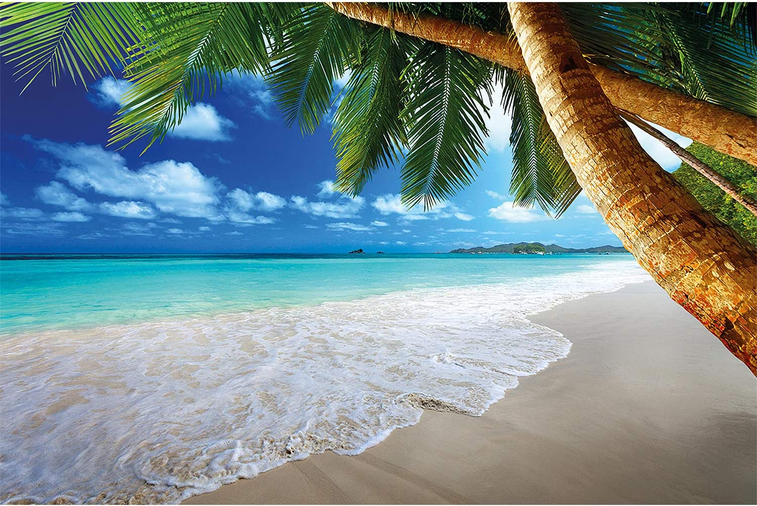 GREAT ART Poster – Palm Beach ? Picture Decoration Caribbean Dream Bay Paradise Island Tropical Coconut Trees Ocean Holiday Blue Sky Image Photo Decor Wall Mural (55x39.4in - 140x100cm)
