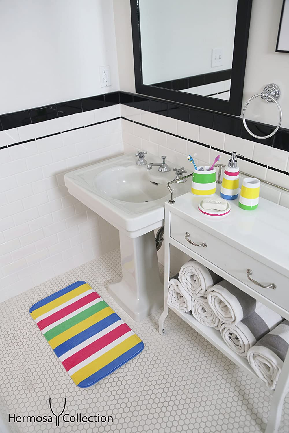 Hermosa Collection Colorful Striped Four Piece Kids Baby Bathroom Fun Accessorie