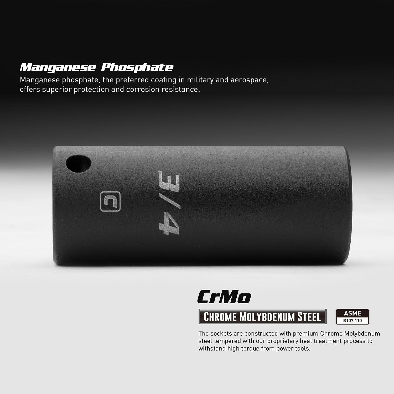 Metric 3//8-Inch Drive Capri Tools 12 mm Shallow Impact Socket 6-Point