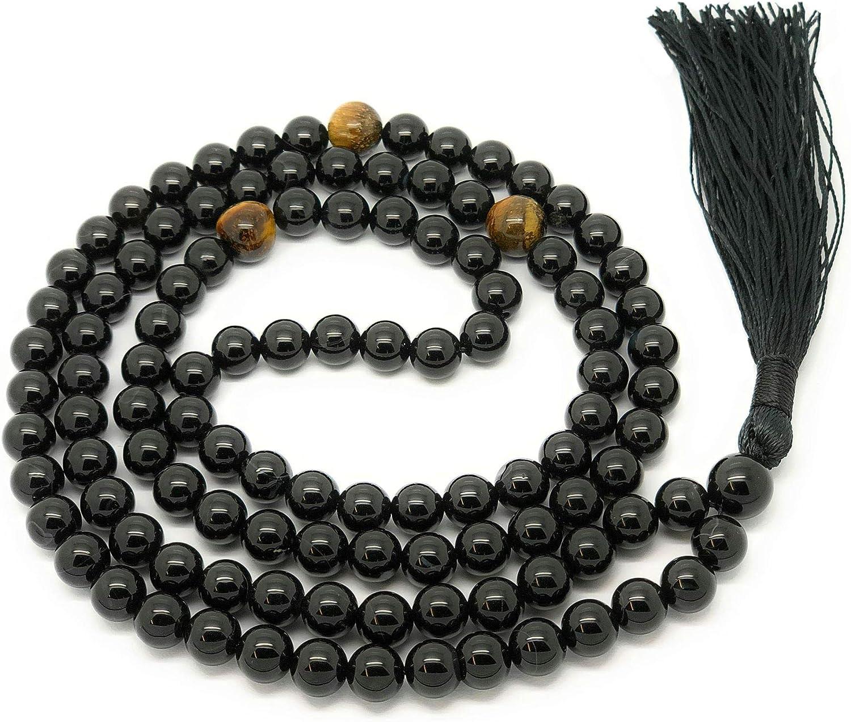 Givereldi pulsera de collar de cuentas de ónix negro mala 108 cuentas de 6 mm - en una cuerda lisa más 1 cuenta de gurú grande - piedra de nacimiento, equilibrio energético, oración, meditación