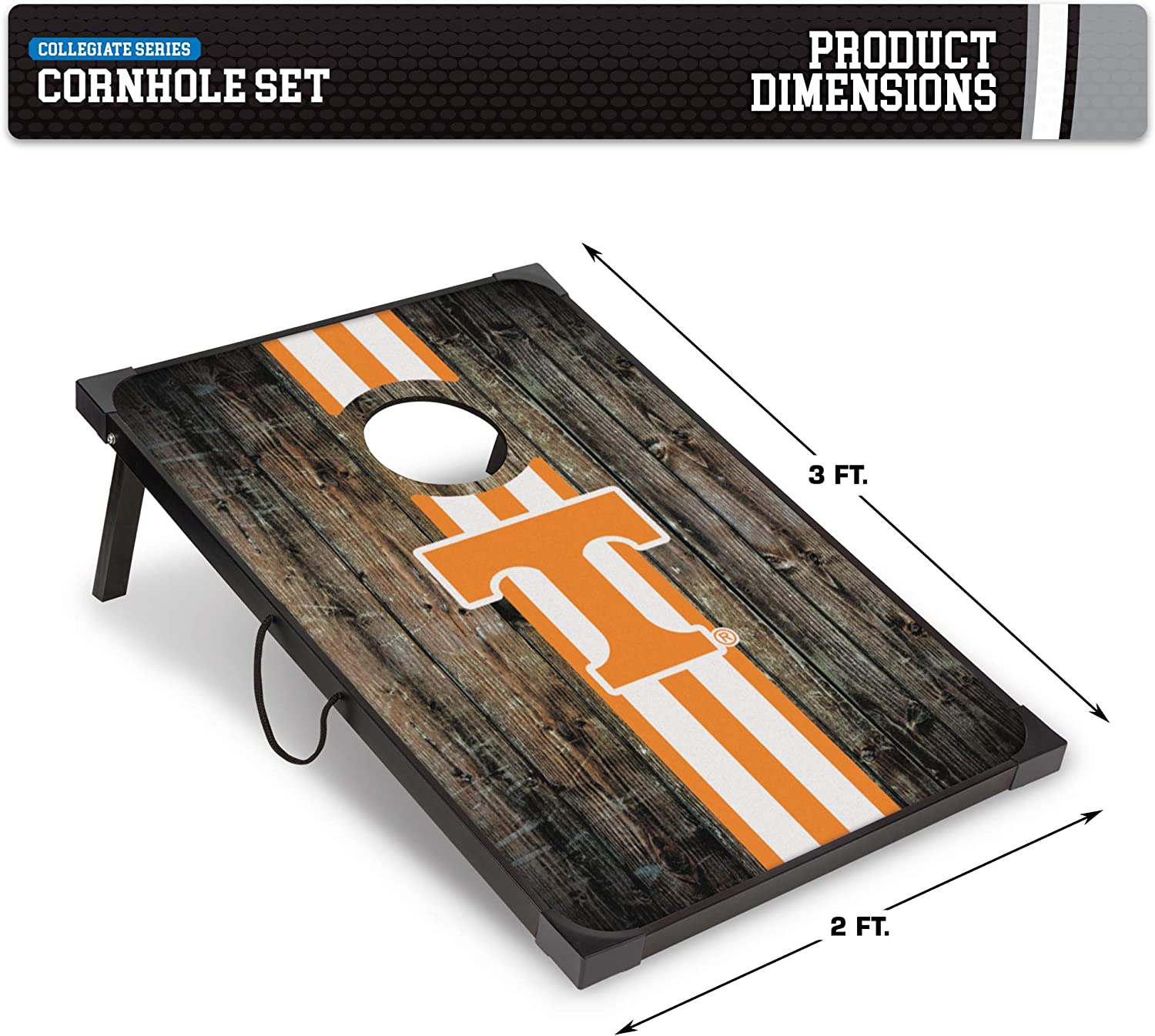 Wild Sports Collegiate Series Tennessee Volunteers Deluxe MDF Cornhole Game Set 2 x 3 9mm Thick with Corners and Aprons Brown Convenient Carry Handles and 8 Premium Bean Bags