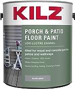KILZ Interior/Exterior Enamel Porch & Patio Latex Floor Paint, Low-Lustre, Slate