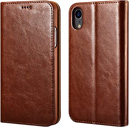SHIELDON iPhone 11 Case - Brown Genuine Leather iPhone 11 Wallet Case Book Design with Flip Cover and Credit Card Slot Magnetic Closure Compatible with iPhone 11 6.1 Inch, 2019