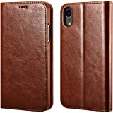 icarercase iPhone XR Wallet Case, Premium PU Leather Folio Flip Cover with Kickstand and Credit Slots for Apple iPhone XR 6.1 Inch (Brown)