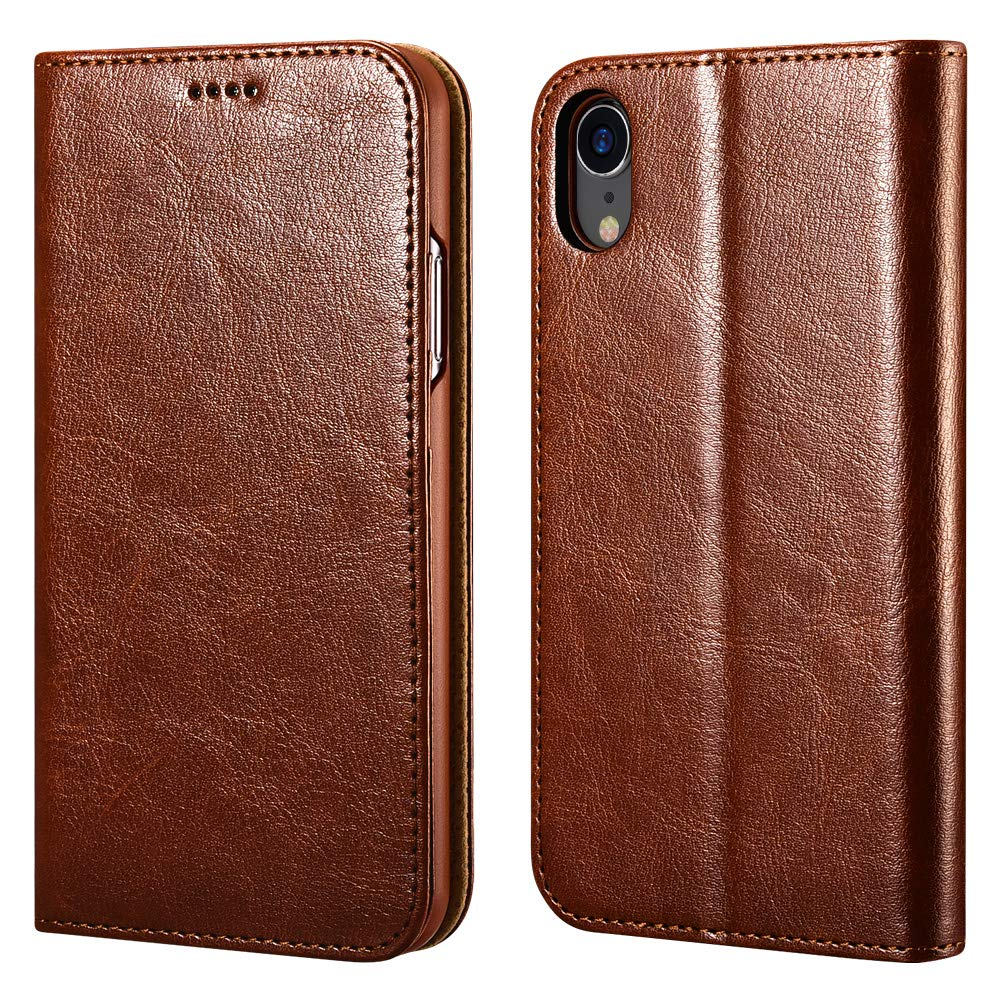 iPhone XR Wallet Case, iPhone XR Leather case ICARERCASE Premium PU Leather Folio Flip Cover with Kickstand and Credit Slots for Apple iPhone XR 6.1 Inch (Brown) by icarercase