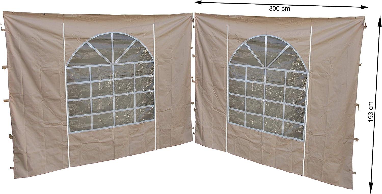 Quick-Star 2Laterales con Ventana de PVC 300x 195cm Carpa para Sahara de 3x 3m página Pared Arena
