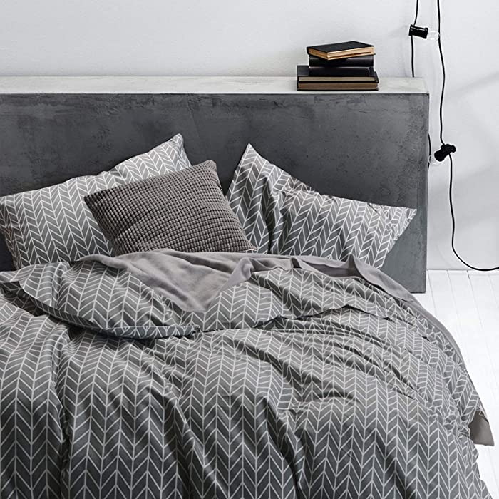 Wake In Cloud - Gray Chevron Duvet Cover Set, 100% Cotton Bedding, Zig Zag Geometric Modern Pattern Printed on Grey, with Zipper Closure (3pcs, Queen Size)