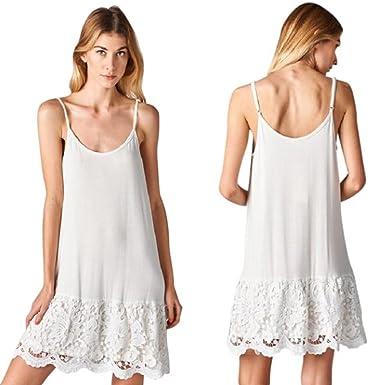65f830c1d87 Sassyclassyjewelry Oddi Lace Dress Extender Scalloped Crochet Black White  Slip Tank Top Shirt - White - Large  Amazon.co.uk  Clothing