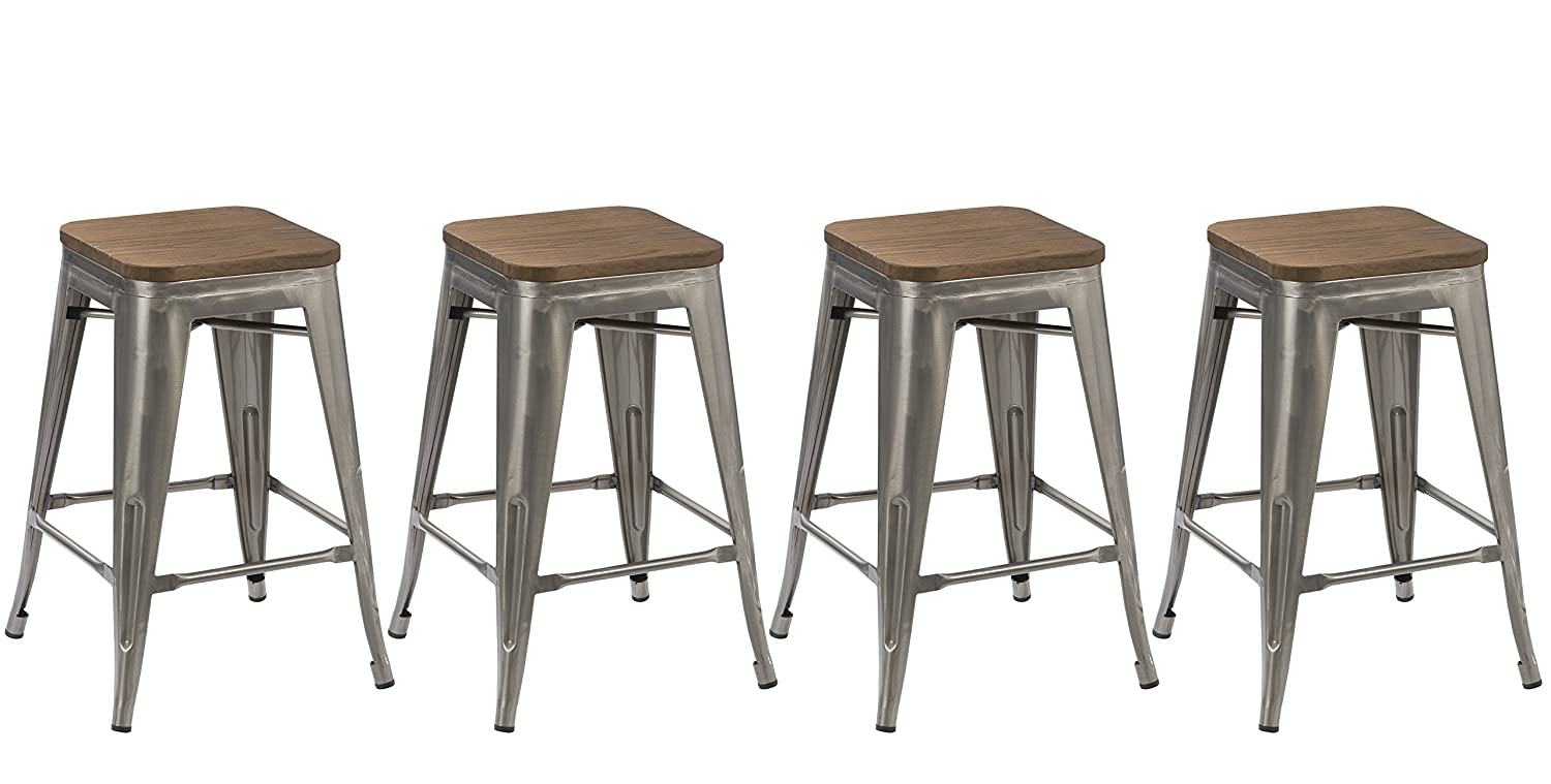 BTEXPERT 24-Inch Industrial Stackable Tabouret Metal Vintage Antique Style Clear Brush Distressed Counter Bar Stool Modern Wood Top Seat, Set of 4 Barstool