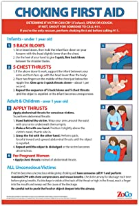 Choking First Aid Poster - Choking Victim Poster - Choking Poster for Restaurants - First Aid Poster for Infants, Children, and Adults - 12 x 18 inches - Laminated (1)