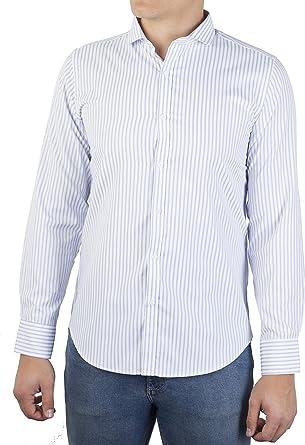 0072Voray Ga Camisa de Sport Hombre de Rayas con Cuello Italiano (0072-01, 2): Amazon.es: Ropa y accesorios