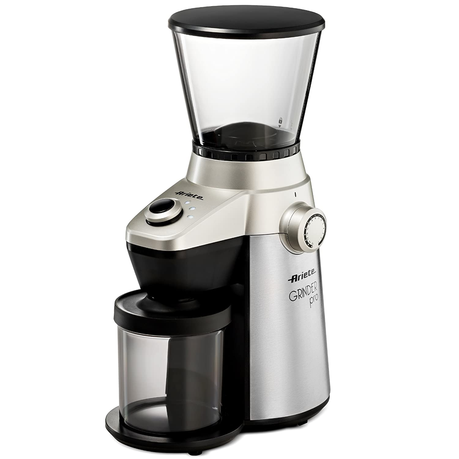 DeLonghi Ariete Ariete -Delonghi Electric Coffee Grinder - Professional Heavy Duty Stainless Steel Conical Burr - Ultra Fine Grind Adjustable Cup Size 15 Fine - Coarse Grind Size Settings 3017