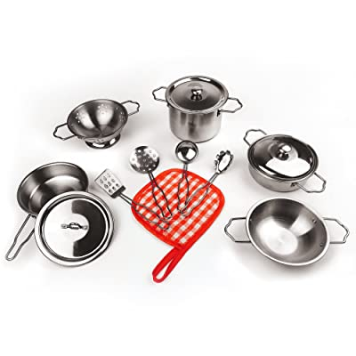 KIDAMI 13 Pieces Kitchen Pretend Toys Mini (Fit Little Baby Tiny Hands), Stainless Steel Cookware Playset, Varieties of Pots Pans, Kids Cooking Utensils (Original): Toys & Games