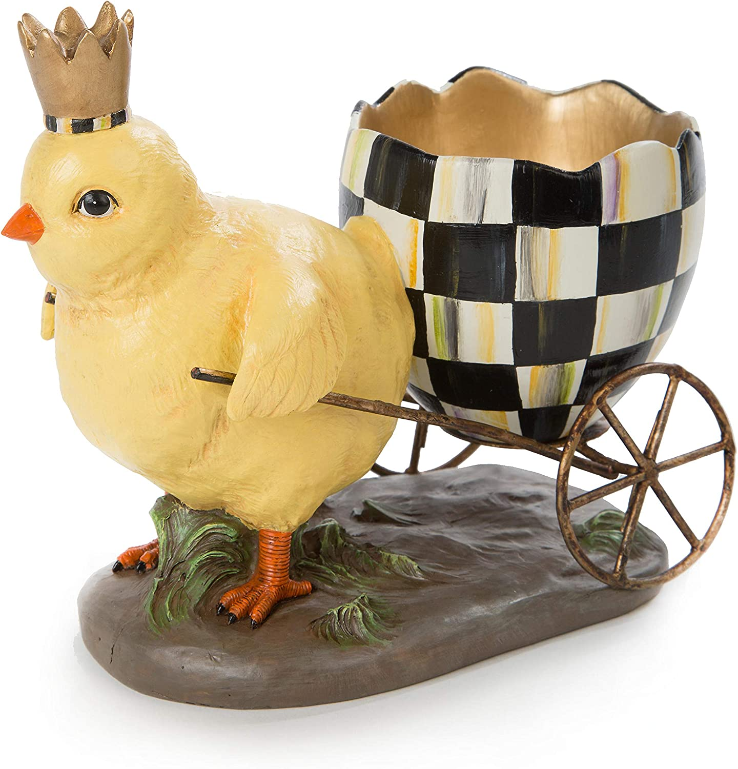 MacKenzie-Childs Which Came First? Chicken and Egg Carriage, Resin Decorations, Summer and Spring Table Decorations for The Home