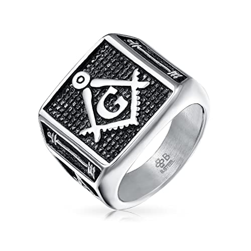 5ec546507fe42 Bling Jewelry Mens Freemason Two Tone Oxidized Flat Top Stainless ...