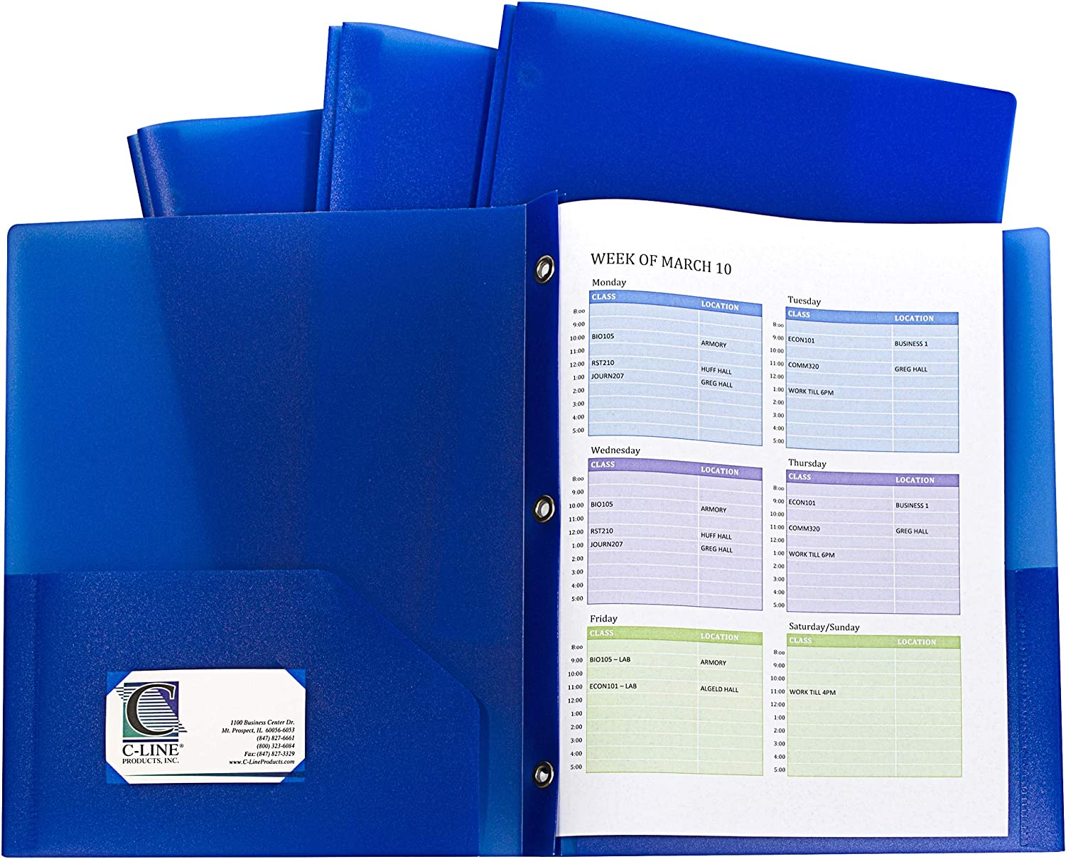 C-Line Two-Pocket Heavyweight Poly Portfolio with Prongs, for Letter Size Papers, Includes Business Card Slot, Blue, 10 Pack (32965)