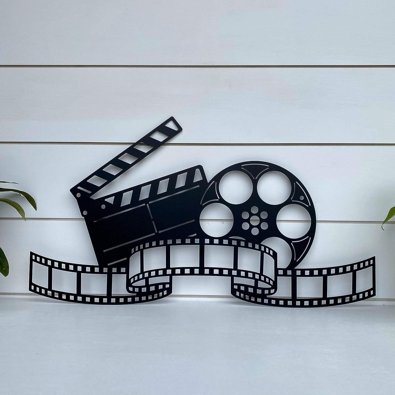 DKISEE Movie Reel, Film Strip Metal Wall Art, Theatre Room Art, Movie Decor, Gift for Actor Movie Maker, Theater Decor, Novelty Metal Wall Art, 24 Inch, Black, HA2204