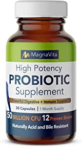 Magna Vita | High Potency Complete Probiotic plus Prebiotic for Men and Women 50 Billion CFU per capsule 12 Strains 1 Month supply Gluten Dairy and Soy Free Vegan 100% Made in the USA Shelf Stable