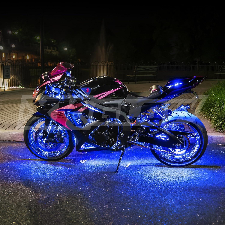 2nd Gen Single Color BLUE 8 POD 2 STRIP 60 LED Universal Motorcycle Accent Neon Underglow Light Kit: Automotive