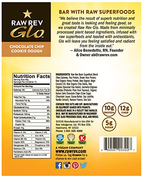 Amazon.com : Raw Rev Glo Vegan, Gluten-Free Protein Bars - Chocolate ...
