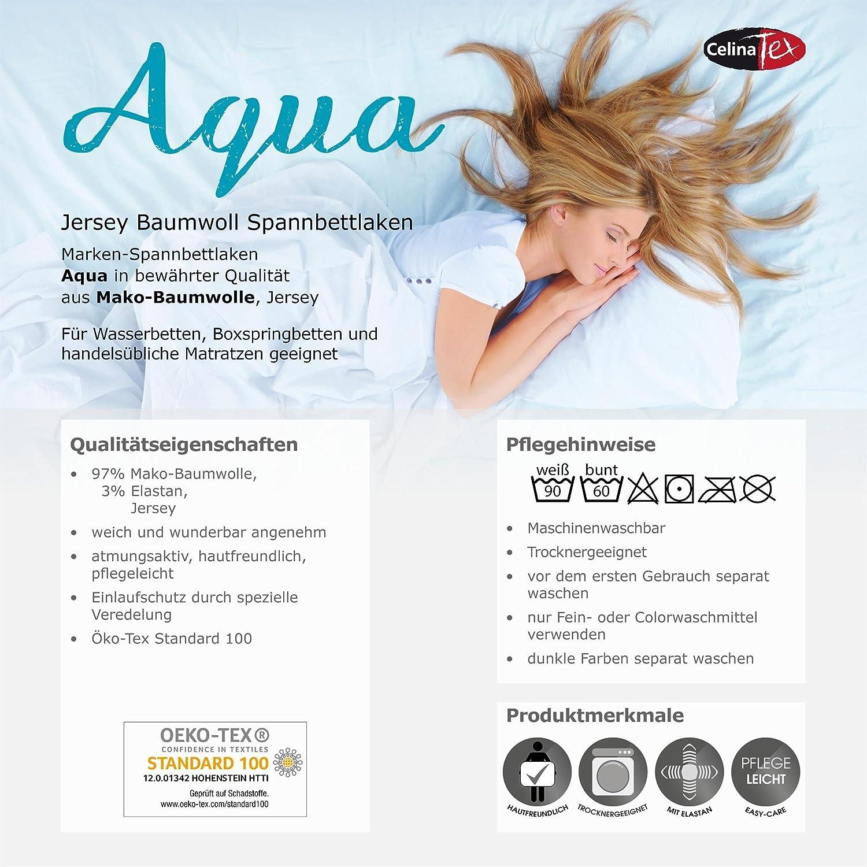 CelinaTex Aqua Wasserbett Boxspringbett Spannbettlaken 120x200-130x220 cm lila Baumwolle Bettlaken Elastan