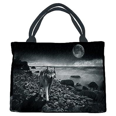 Amazon.com: Custom Animal bolsa de lona, triste lobo bajo la ...