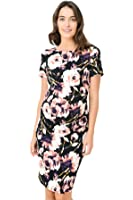 Hello Miz Floral Print Side Pleated Midi Slim Fit Maternity Dress