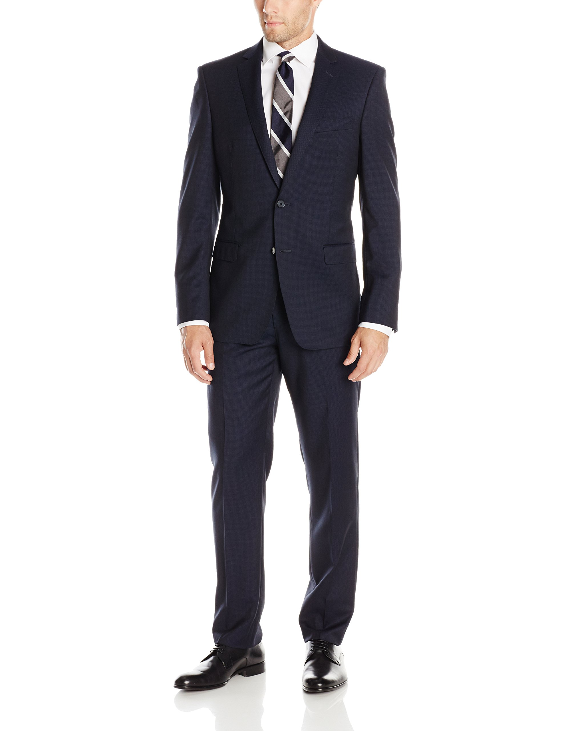 DKNY Men's Dekalb Mini Check 2 Button Slim Fit Suit, Navy, 42/Regular