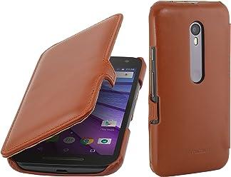 StilGut Book Type Case con Clip, Custodia in Vera Pelle per Motorola Moto G, Cognac