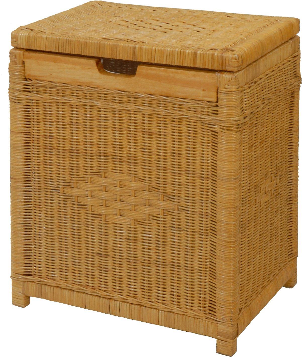 Wäschekorb mit Holzrahmen aus Rattan, Honig - Versandkostenfrei in DE