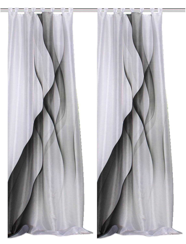2er Set Schlaufen-Schal Sigrid, Digitaldruck, blickdicht, Einzelmaße 245x140 cm