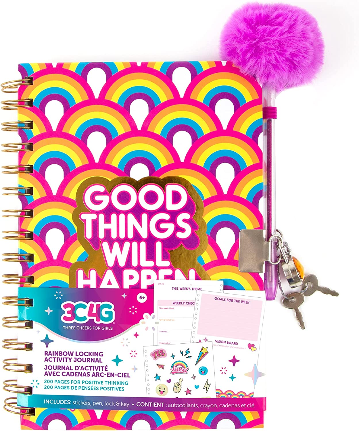 Three Cheers for Girls - Rainbow Bright Locking Activity Journal - Girls Diary with Lock and Key - Includes 200 Page Spiral Bound Activity Notebook, Stickers, Pen, Lock and Key - 5.5 x 8.3 Inches
