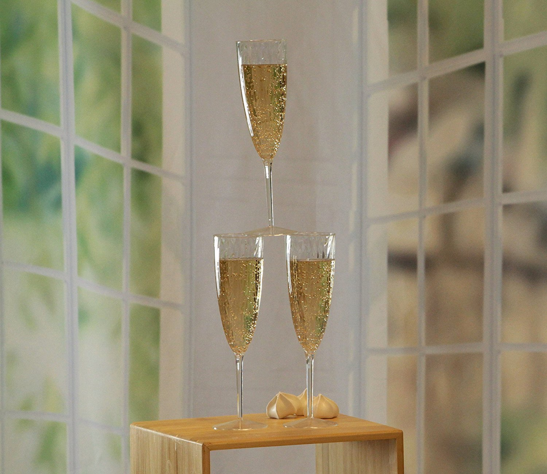 Premium Champagne Flutes 6 oz. Clear Hard Plastic Disposable Glasses, Value Box Set – 96 Count