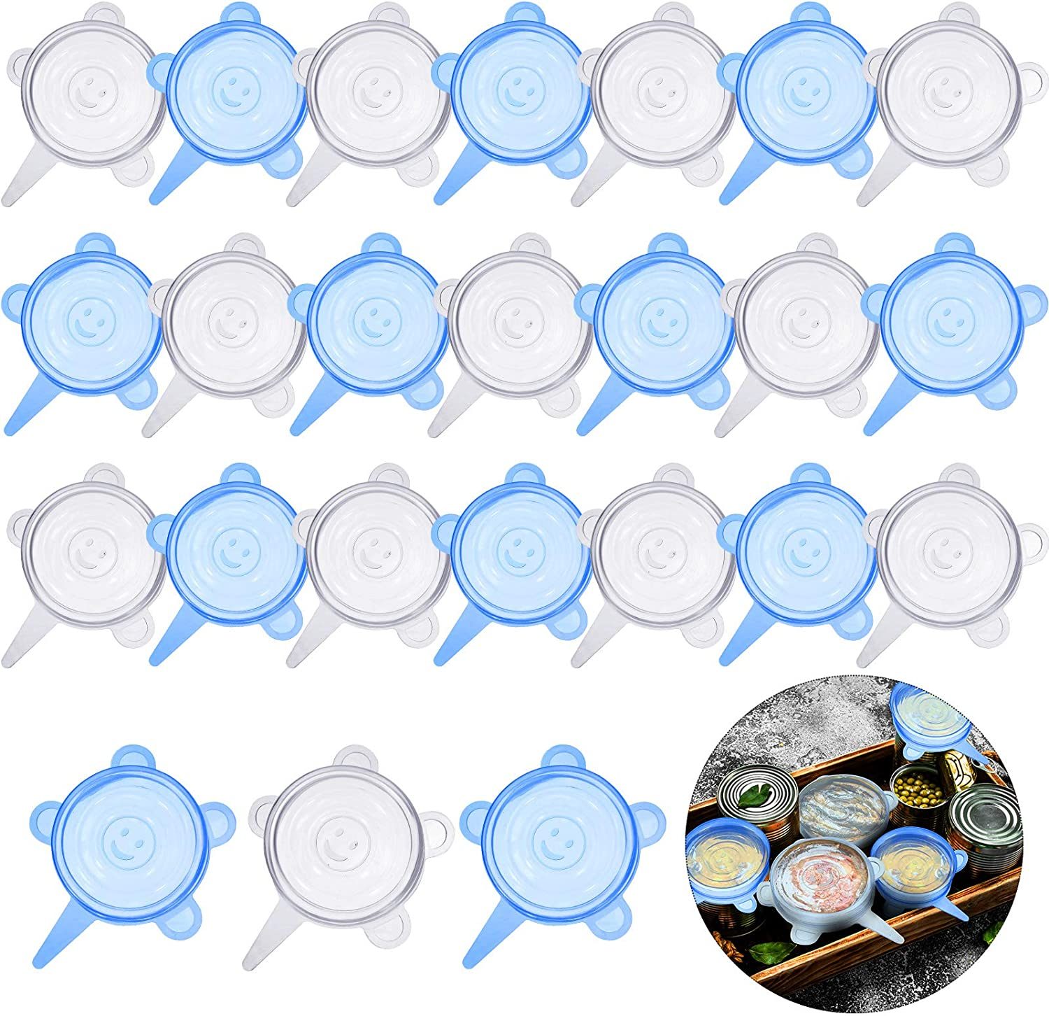 24 Pieces Silicone Stretch Lids Round Elastic Container Lids Blue White Stretch Lids Durable Food Storage Covers for Cups Small Bowls Cans Jars Fruits Vegetables Storage