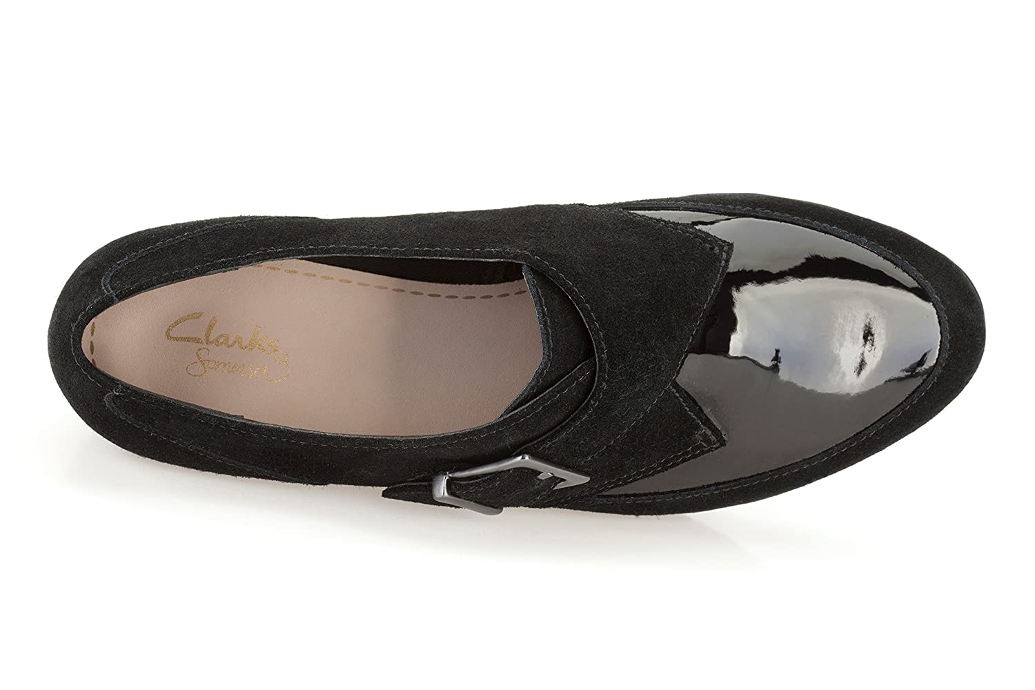 e7ef604db08b Clarks Compass Point Black Suede Ladies Casual Slip On Shoe 8 UK  Amazon.co. uk  Shoes   Bags