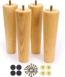 WOODINNO Furniture Leg 8 Inch Replacement for Mid Century Table Dresser, Desk, Couch, Chair Cabinet Sofa Round feet Cabinet- Unfinished