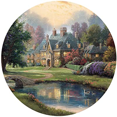Thomas Kinkade Lakeside Manor Round Puzzle - 500Piece: Toys & Games