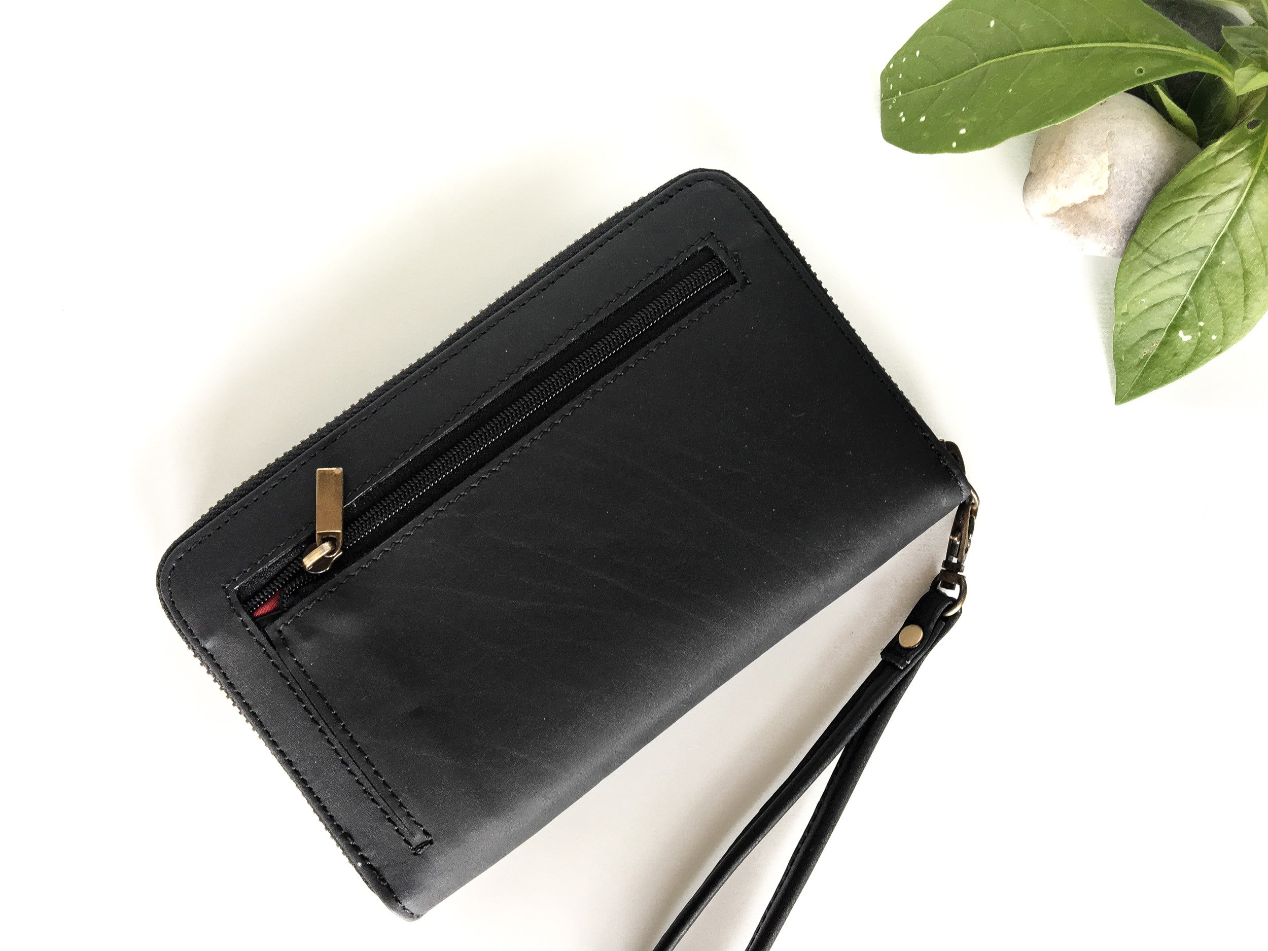 Clovve Handmade Buffalo Leather Women's Wristlet, 7 Inches| Classical Monochrome Luxury Range | Casual purse for outings, dates, and parties | Monochrome Black by Clovve (Image #2)