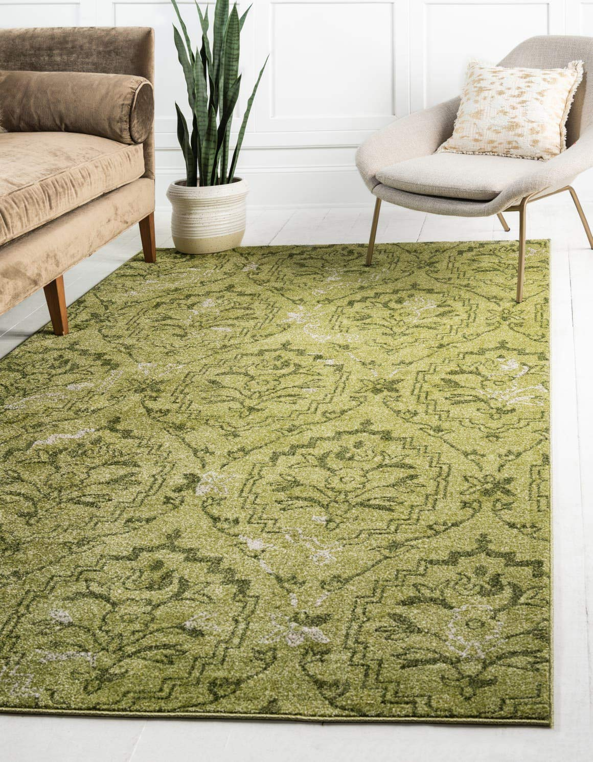 Unique Loom Damask Collection Traditional Floral Light Green Area Rug 5 0 x 8 0