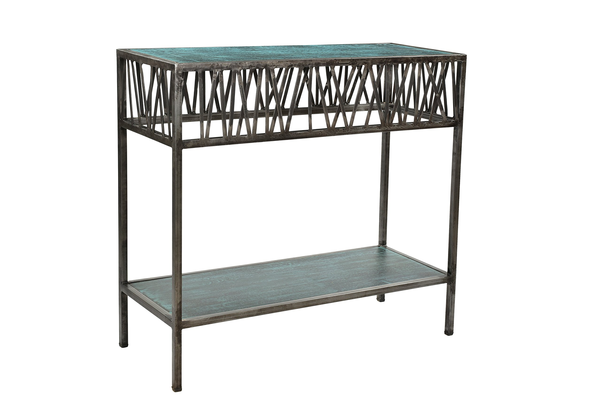Designe Gallerie Garrard Rustic Iron Console Table with Wooden Top, Hallway or Entryway, Bottom Shelf for Storage, Natural Patina Finish, Silver - Design: Rustic style- an organic aesthetic and opened metal design and straight metal legs for support. Bring rustic intrigue to your living space. Transform your home decor with this console table. Functional: useful as a sofa console and hallway or entryway console, transmit offers versatility and makes a bold statement. Storage space: Made of wood and metal, it features storage space with bottom shelf, which can well accommodate your various kinds of accessories or stuffs, such as your Notebooks, magazines, books or other things. - living-room-furniture, living-room, console-tables - 81H 3fTWvZL -