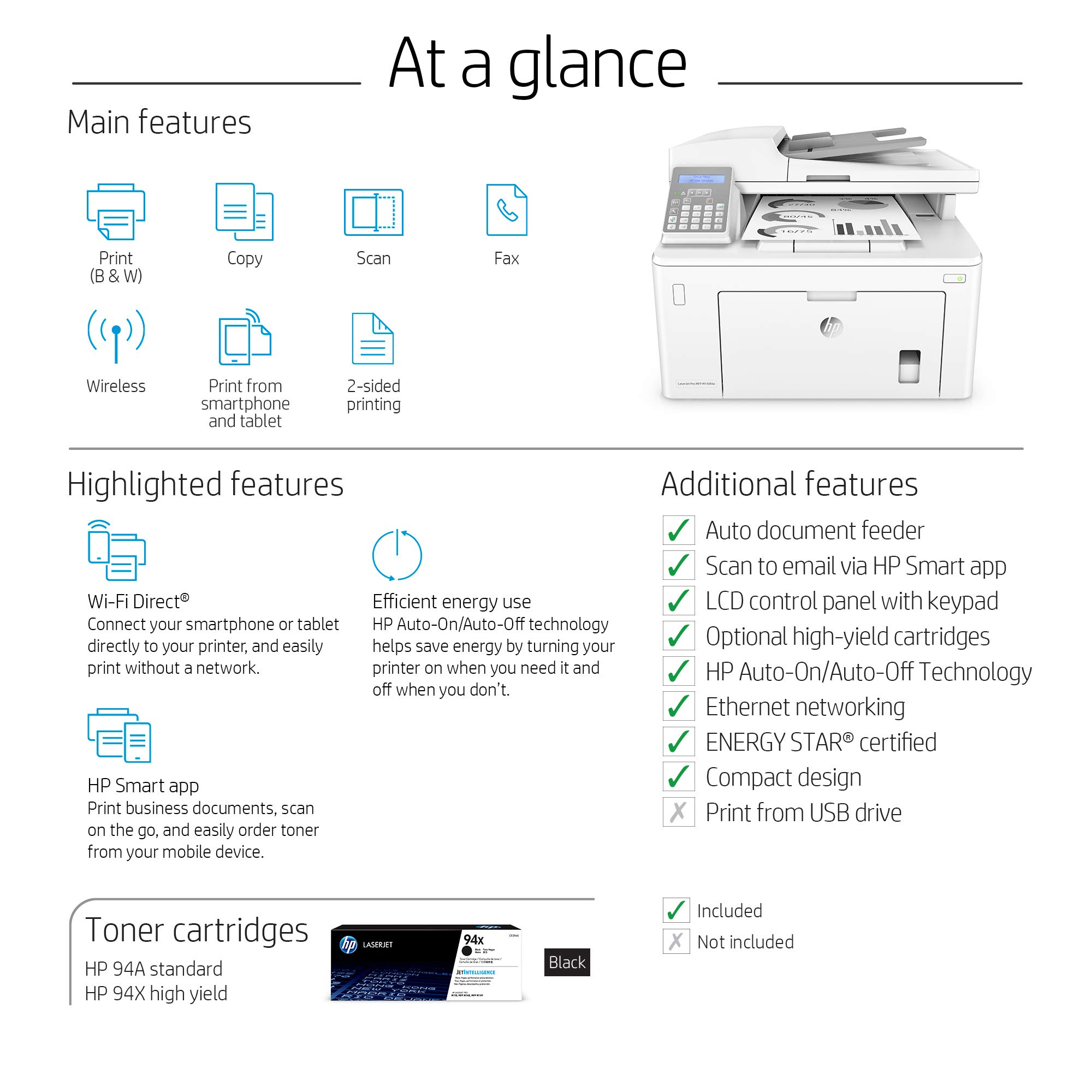 HP Laserjet Pro M148fdw All-in-One Wireless Monochrome Laser Printer with Auto Two-Sided Printing, Mobile Printing, Fax & Built-in Ethernet (4PA42A) by HP (Image #6)