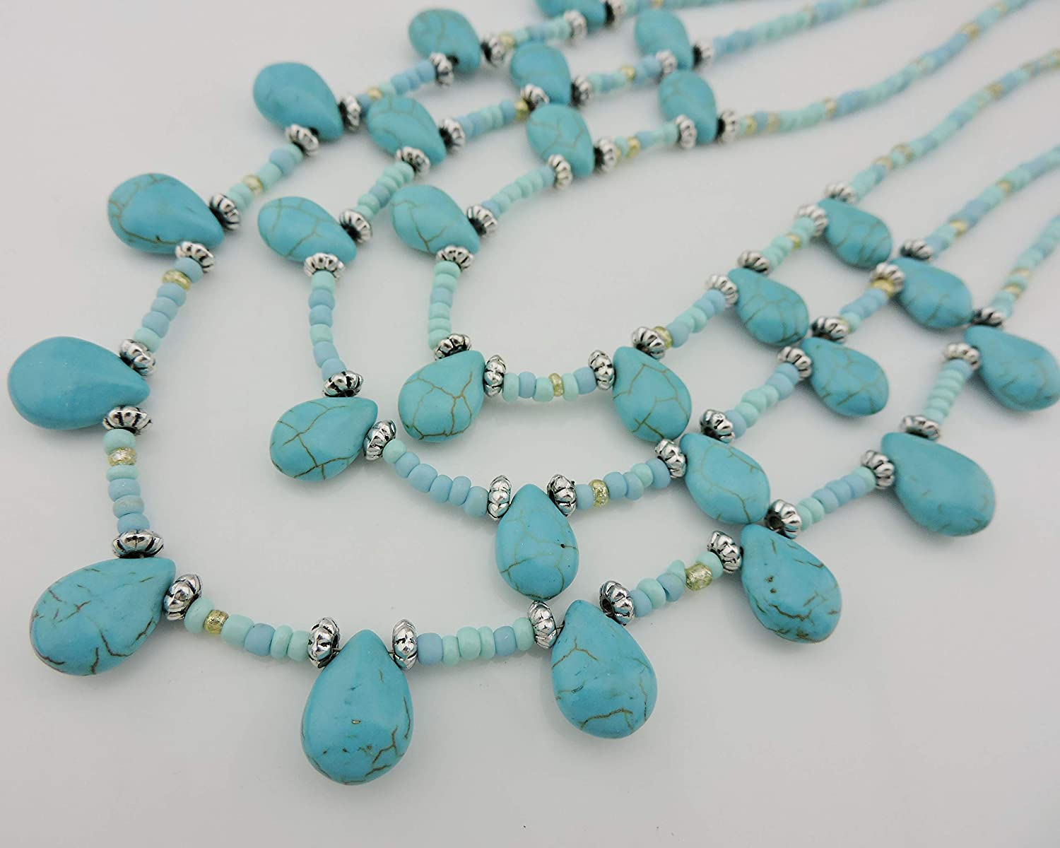 N0043White Coiris Simulated White Turquoise Beads Steel Band Statement Necklace for Women with Earrings