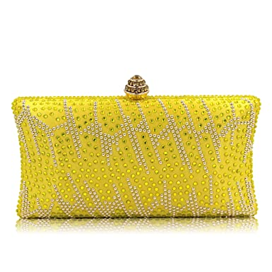 48c65170ad Flada Women and Ladies Handbag Evening Clutch Bag Rhinestones Shoulder Bags  for Prom Wedding Party Yellow